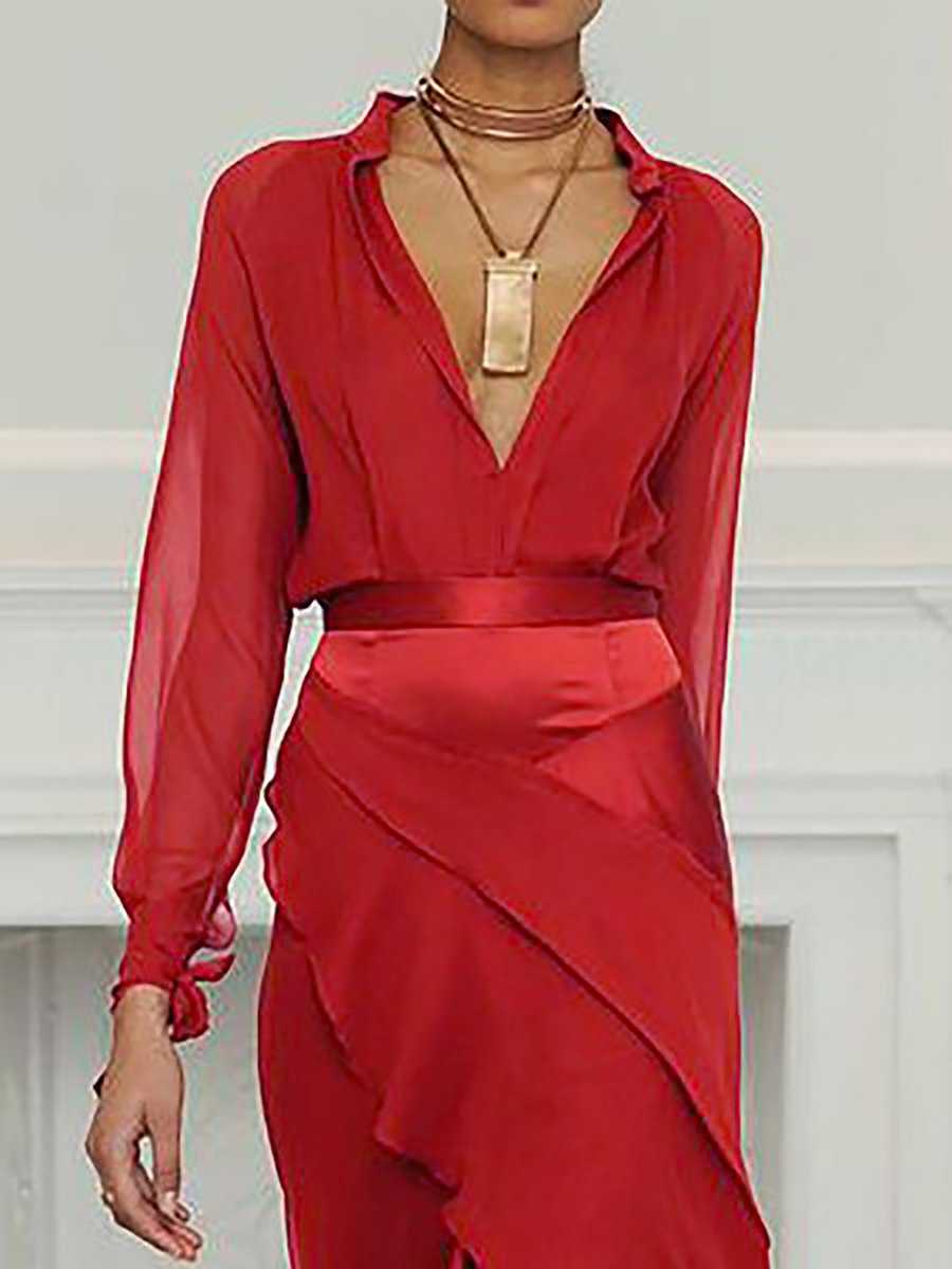 0e0a91f640f3 Stylewe Summer Dresses Long Sleeve Sundress Evening Swing Deep V ...
