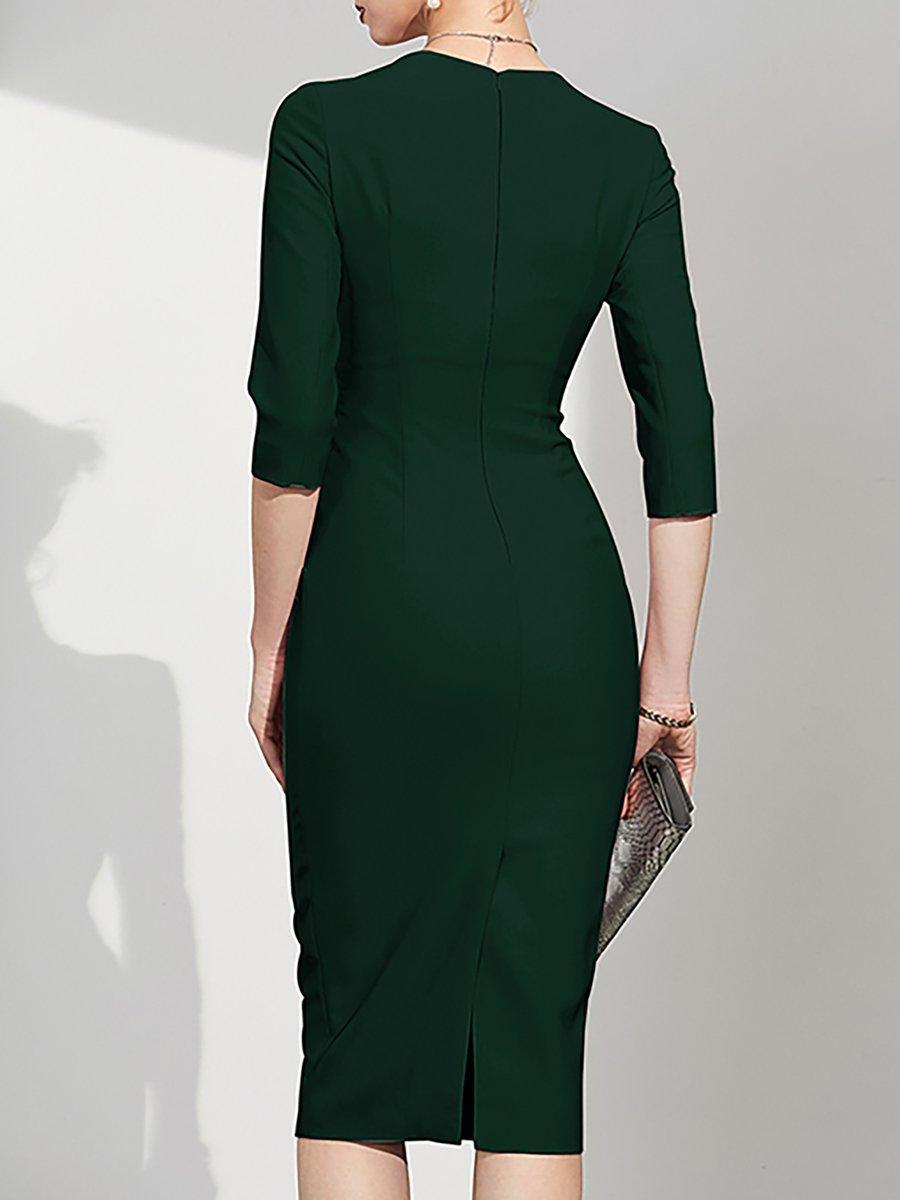 bdb4722b068 Army Green Bodycon Midi Dress - Gomes Weine AG
