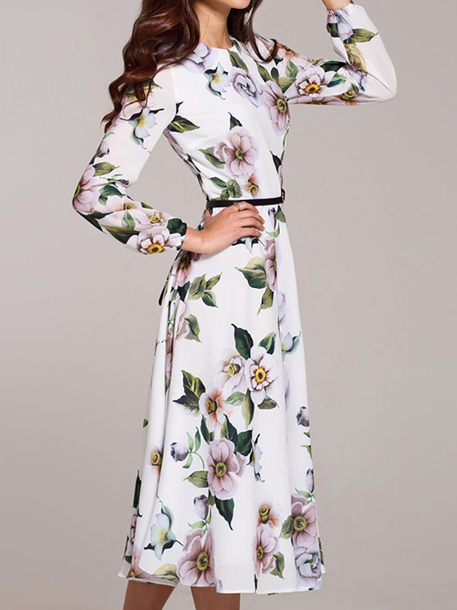 4e93c8bf1223 Stylewe Summer Dresses Long Sleeve Floral Dresses Party A-Line Crew ...