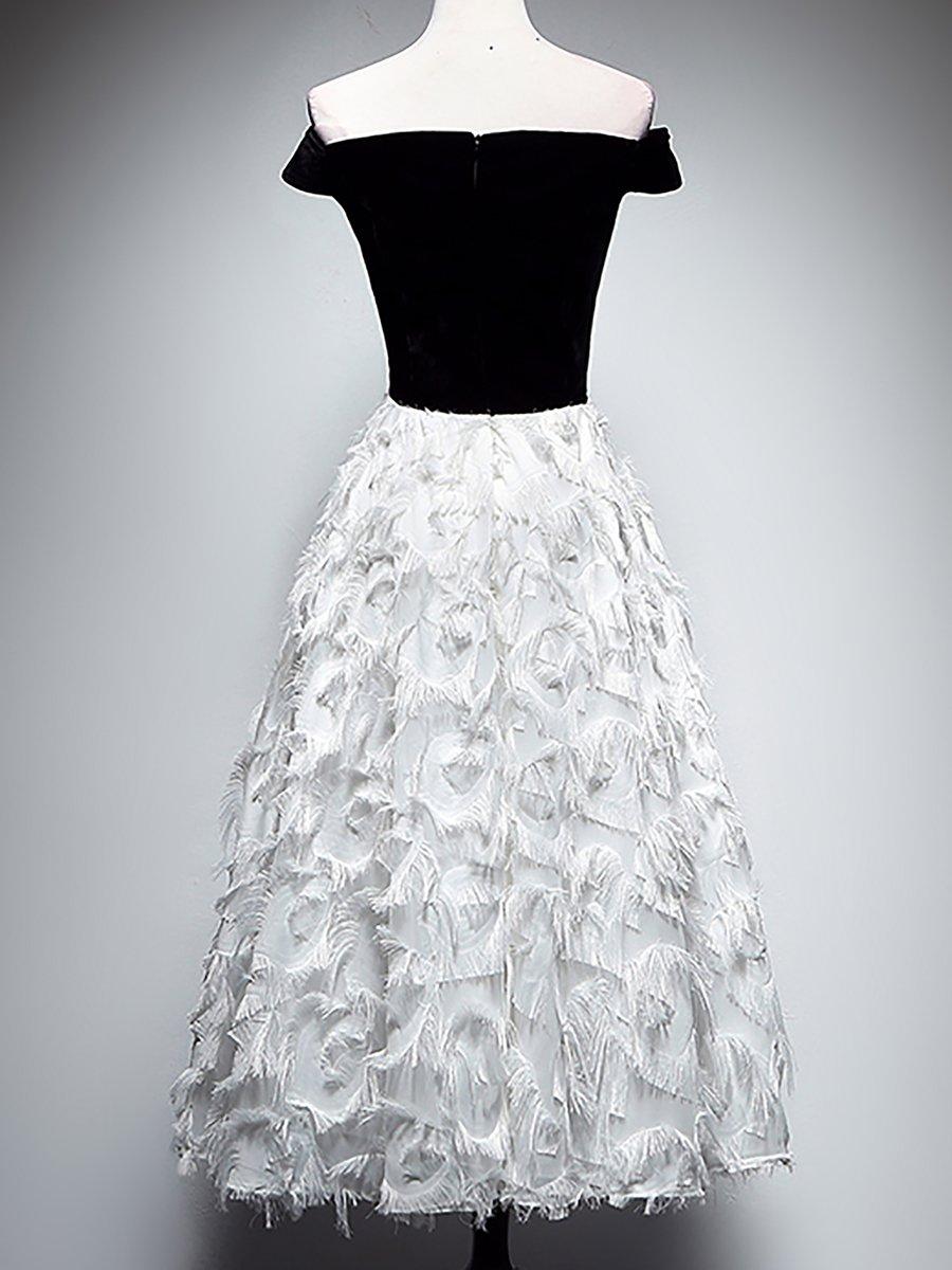 97c0a3fc21f8 Stylewe Prom Dresses Formal Dresses Cocktail A-Line Off Shoulder  Feather-Trimmed Short Sleeve Elegant Dresses