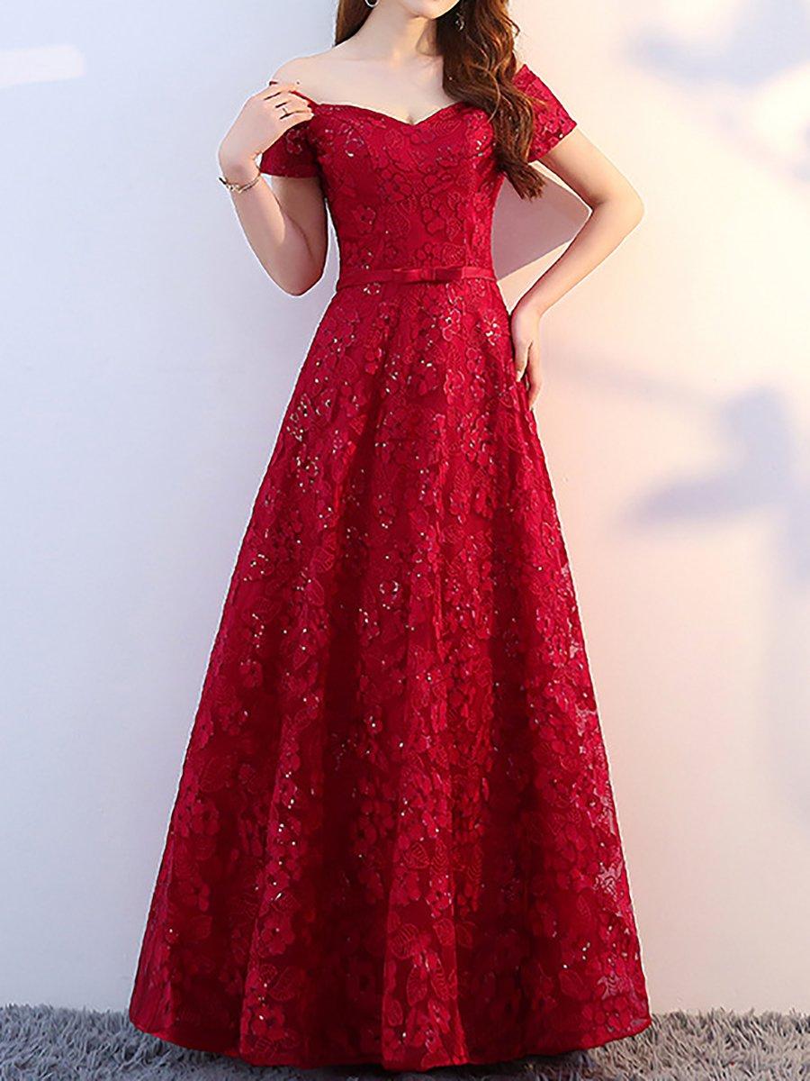 Elegant Off Shoulder A Line Wedding Elegant Lace Maxi Dress