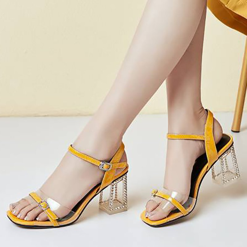 08bdd5649fc Stylewe Sandals Chunky Heel Gold Elegant Open Toe Sandals