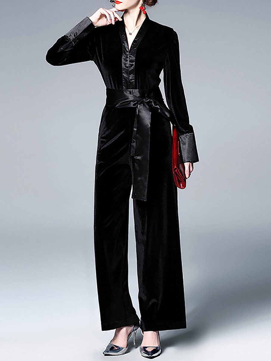 f33c05d5b7c Stylewe Solid Jumpsuits For Work V Neck Long Sleeve Black Jumpsuits