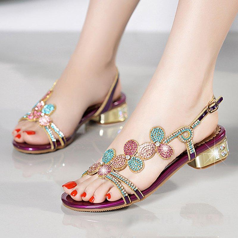 09b9d8486f6 Stylewe Sandals Open Toe Golden Adjustable Buckle Elegant Chunky ...