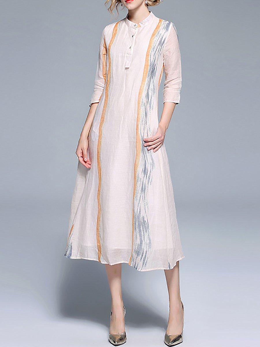 1558f60c561 Stylewe Shirt Dress Sundress Work Shift Stand Collar Casual 3 4 ...