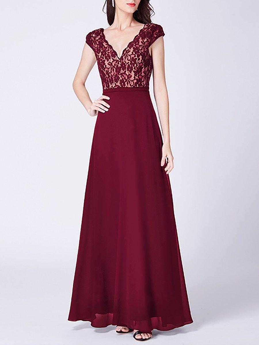 5910a55f28f Stylewe Prom Dresses Sundress Prom Ball Gown V Neck Elegant Short Sleeve Guipure  Lace Dresses