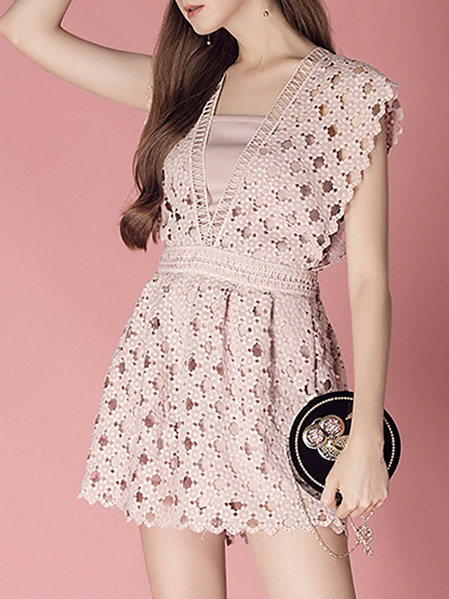 Summer Solid Pockets Dresses Plus Size Cocoon Sleeveless: Stylewe Summer Solid Lace Sweet Romper
