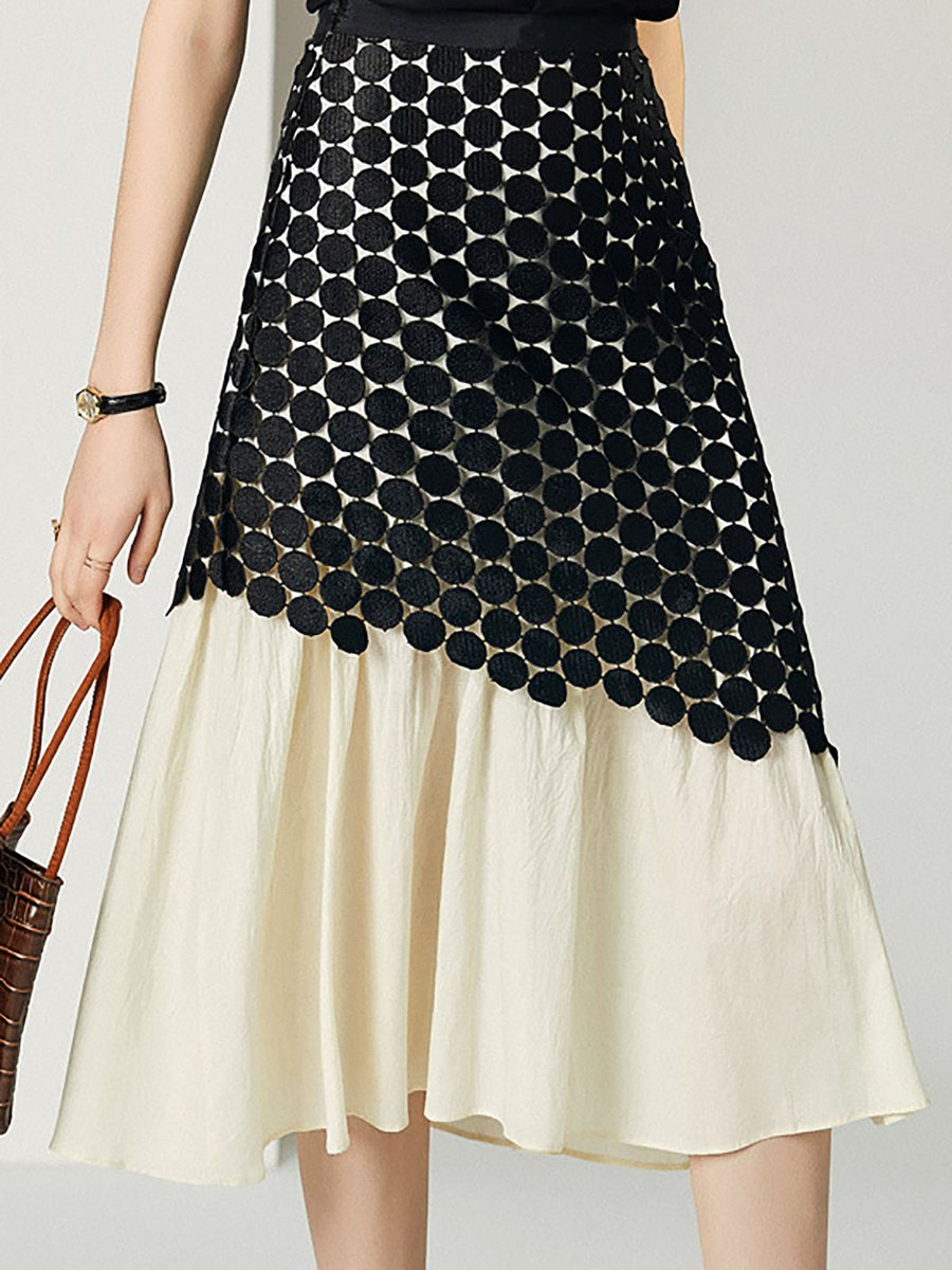 a6bbd1505 Stylewe Paneled Lace Elegant A-Line Midi Skirt