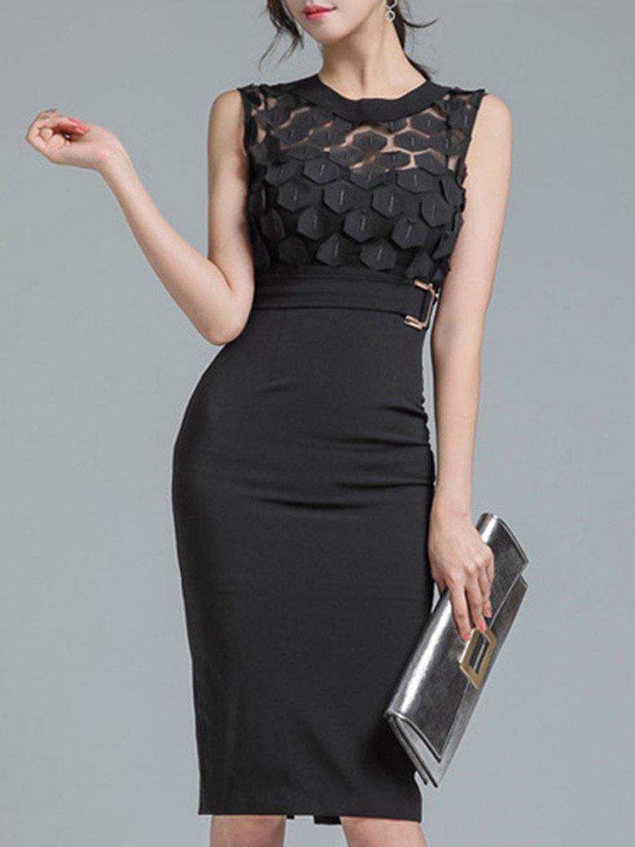 Stylewe Black Bodycon See Through Look Elegant Solid Midi