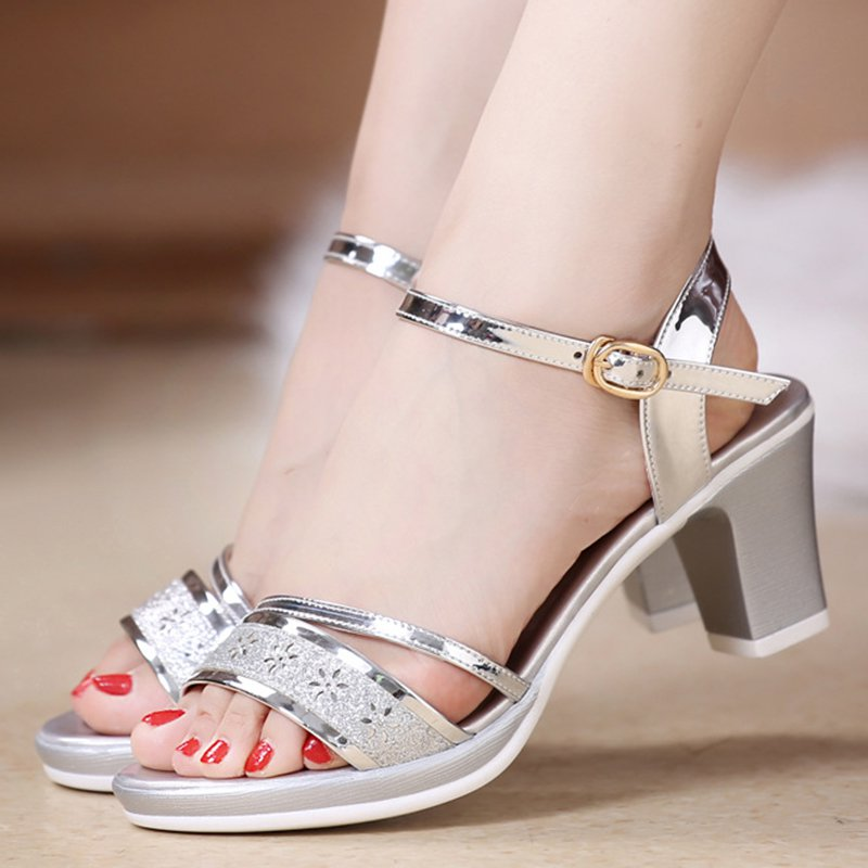c13323f76a2 Stylewe Sandals Elegant Chunky Heel Golden Open Toe Sandals