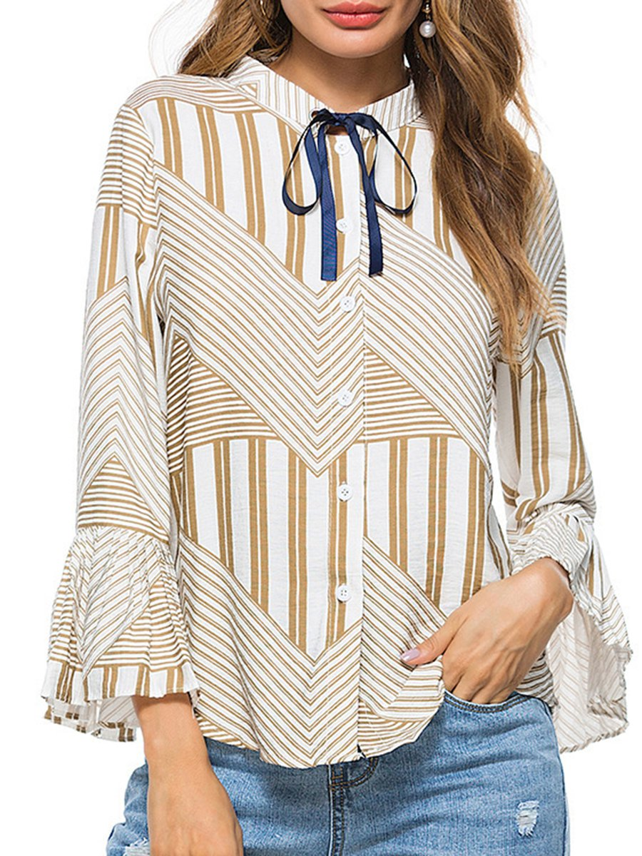 1f6078b499ba05 Stylewe Striped Blue Green Red Yellow Women Blouses Stand Collar ...