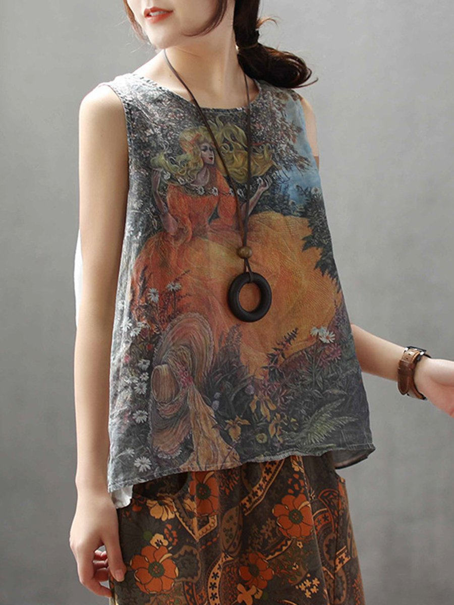 e107f0a7183c5f Casual Printed Crew Neck Sleeveless Linen Tops - StyleWe.com