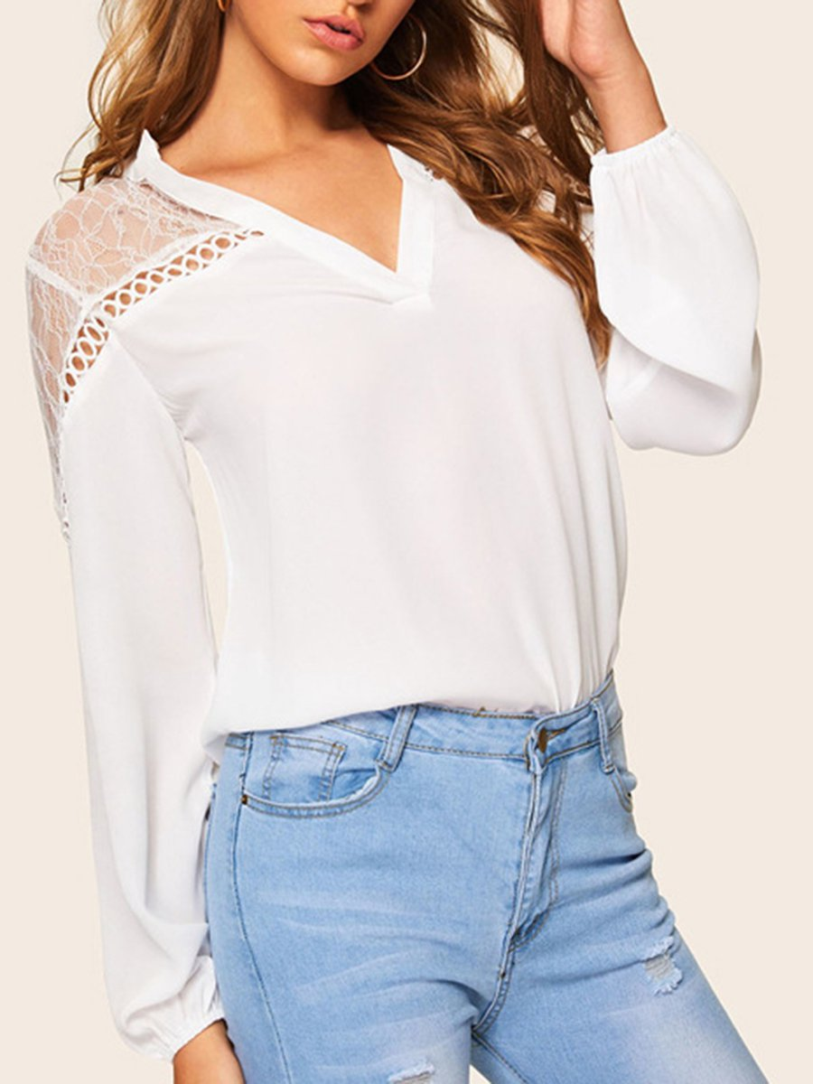 66643b978002d2 Stylewe Long Sleeve White Women Blouses V Neck Sweet Polyester See ...