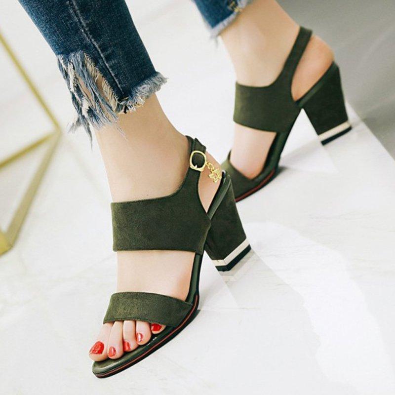 475321bf4e7 Stylewe Sandals Black Casual Chunky Heel Adjustable Buckle Open Toe ...