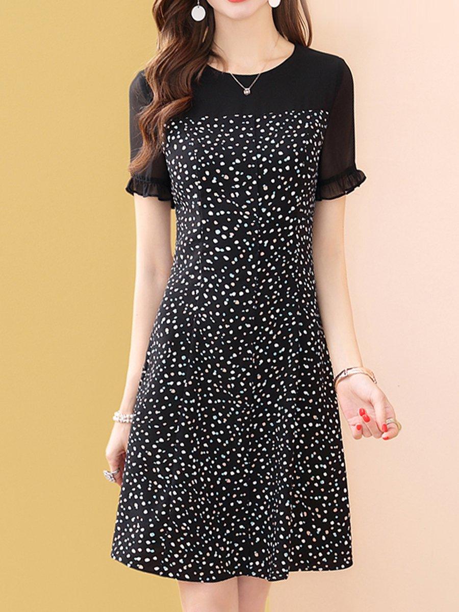 e0d76f47bd73 Stylewe Summer Dresses Sundress Daily A-Line Crew Neck Printed Short ...