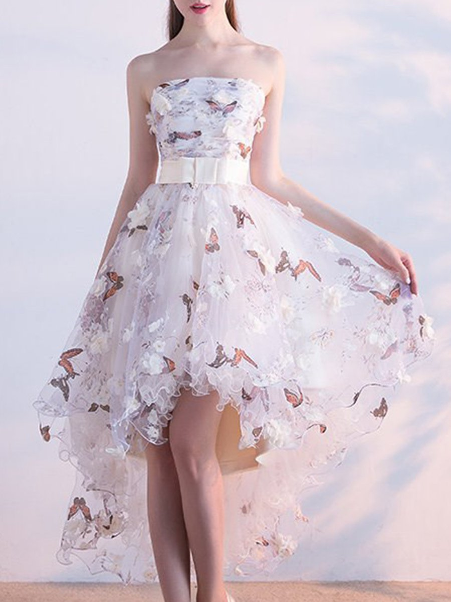 c93de3582ae1 Champagne Round Neck High Low Prom Dresses Evening Dresses - Data ...
