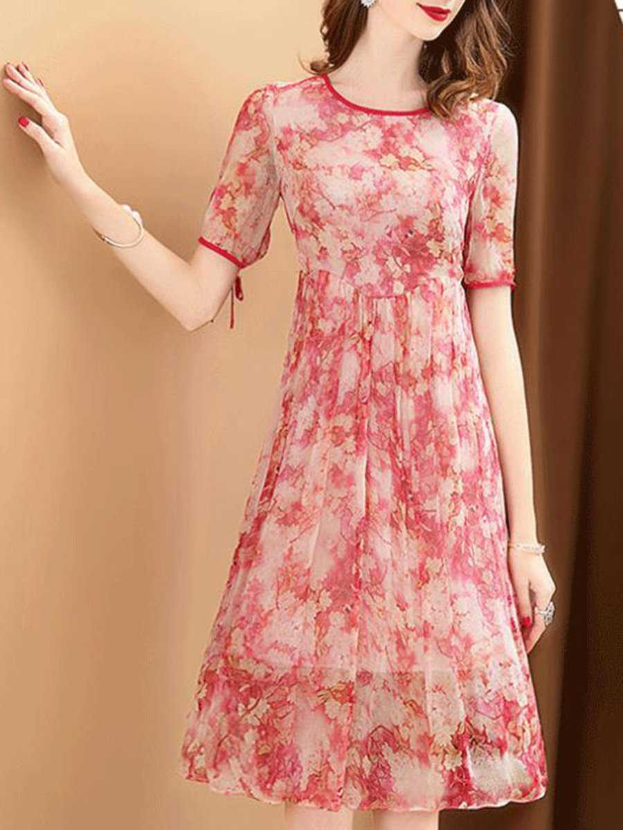 7e962393893 Floral Midi Dress With Short Sleeves - Data Dynamic AG