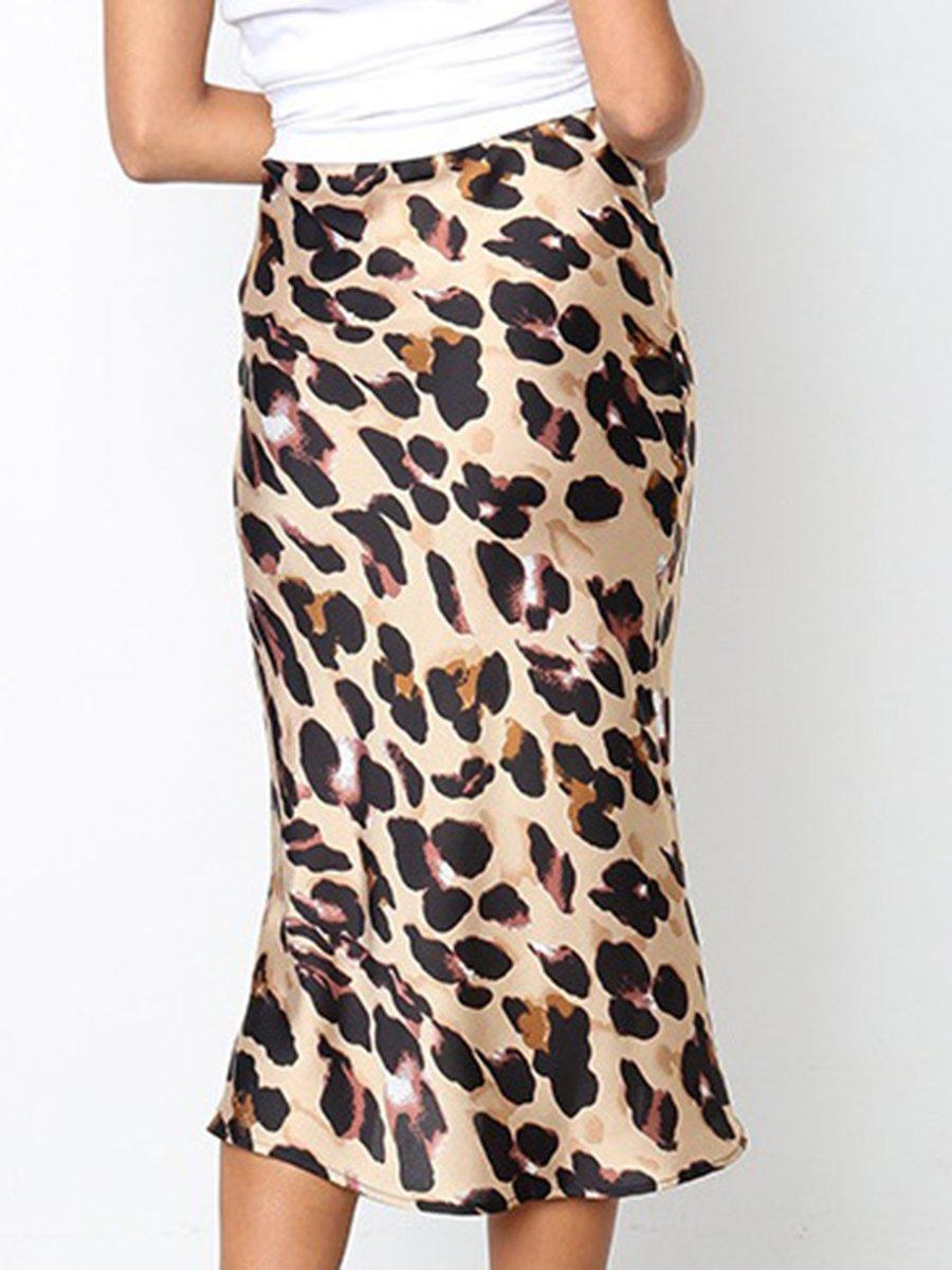 76ad64aea053 Stylewe Women Midi Skirts Shift Casual Khaki Polyester Printed Midi ...