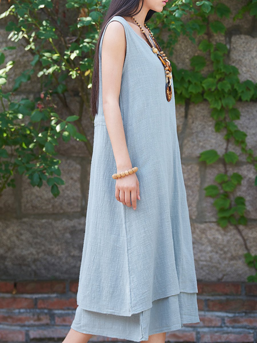 Summer Solid Pockets Dresses Plus Size Cocoon Sleeveless: Pockets Sleeveless Cotton Solid Linen Dresses