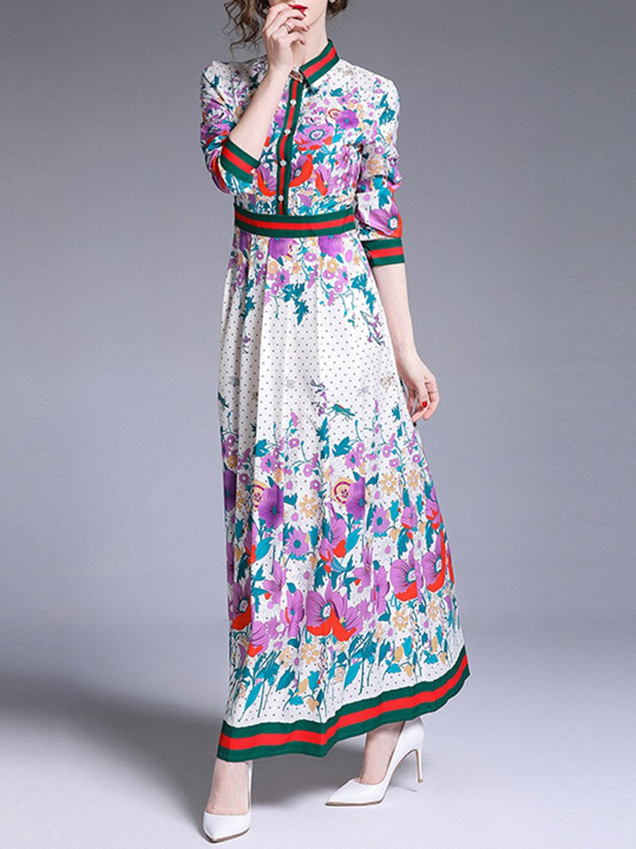 kleider 3/4-sleeve ankle length women's maxi dress canyon