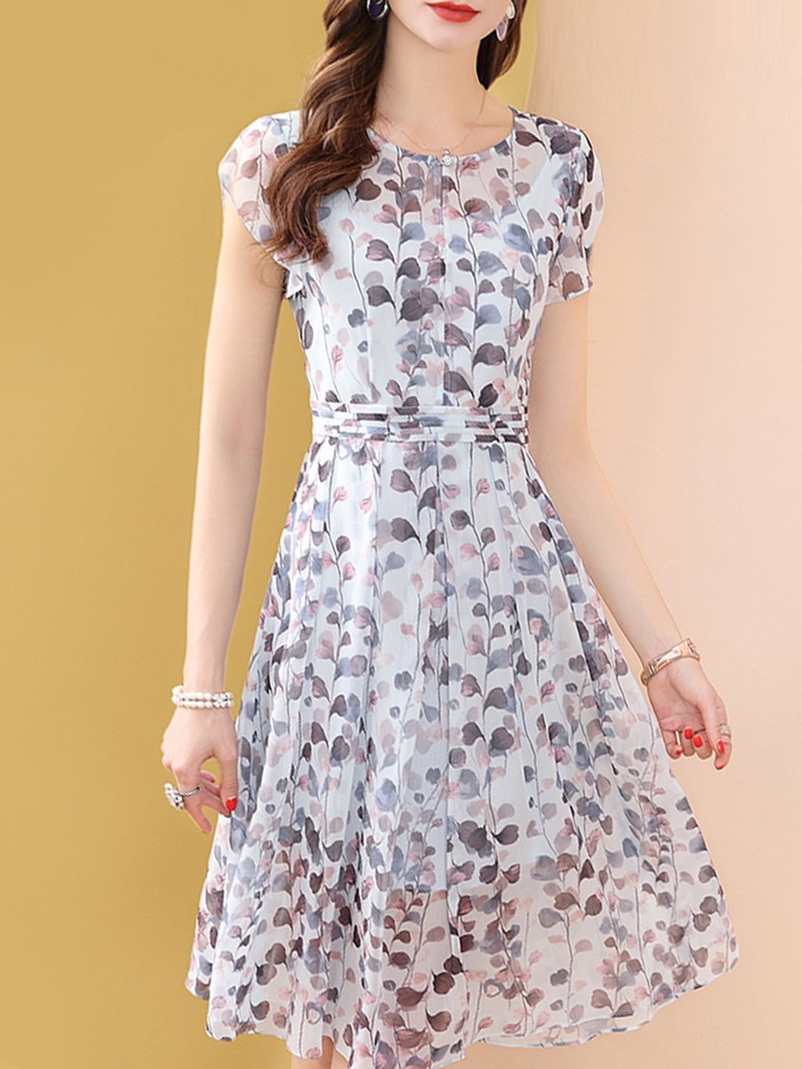db8d2b2206 Stylewe Casual Dresses Floral Dresses Date A-Line Crew Neck Printed ...