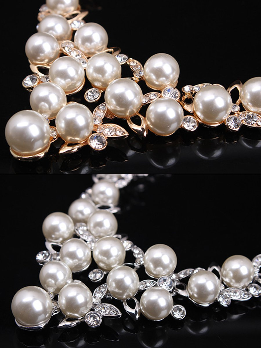 a44de61ad Alloy Pearl Glass Earrings With Necklace Jewelry Set