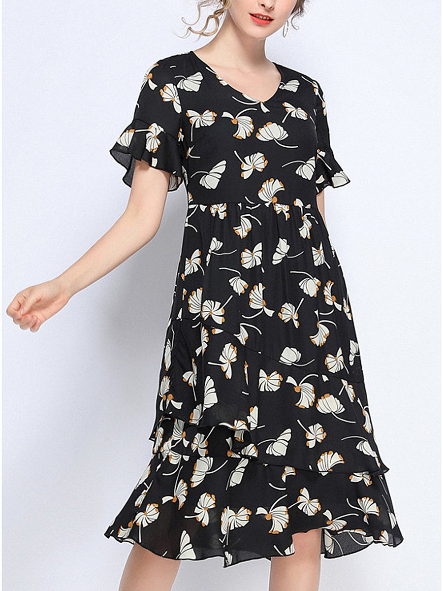9dcb144f749b Stylewe Casual A-Line Date Going Out Printed Leaf Midi Dress