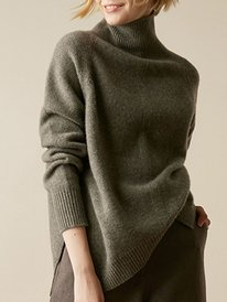 Casual Knitted Long Sleeve Sw...