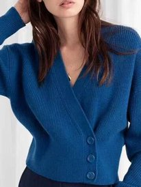 Blue V Neck Buttoned Casual S...
