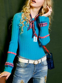 Blue Simple Knitted Long Sleeve Ribbed Crew Neck Sweater