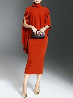 Orange Slit Two Piece Sheath Batwing Midi Dress