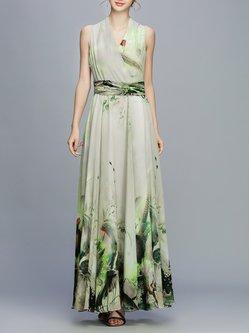 V Neck A-line Sleeveless Vintage Printed Maxi Dress