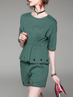 Solid Two Piece Short Sleeve Romper