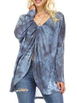 Dark Blue H-line Ombre/Tie-Dye Casual Tunic