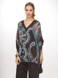Resort Printed V Neck Batwing Abstract Blouse
