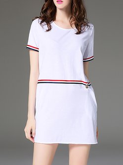 Crew Neck Short Sleeve Casual Plain Mini Dress