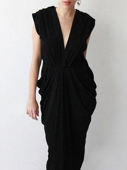 Plain Short Sleeve Gathered Cocktail Maxi Dress