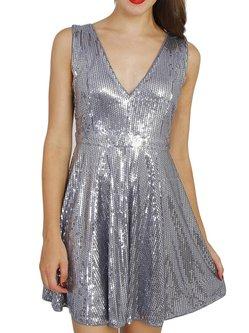 Silver V Neck Plain Sleeveless Glitter-finished Mini Dress
