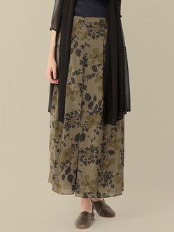 Army Green Floral Vintage Midi Skirt