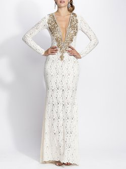 White Sheath Plunging Neck Elegant Evening Dress