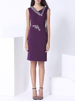 Sleeveless Elegant Beaded Midi Dress