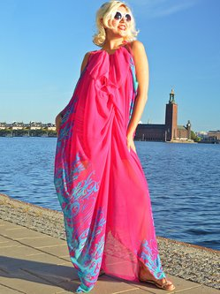 Fuchsia Hand Made Sleeveless Two Piece Maxi Dress