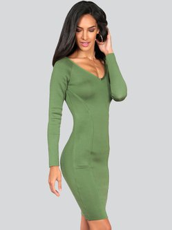 Long Sleeve Plain Elegant Sheath Bandage Midi Dress