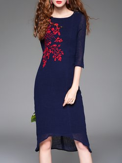 Navy Blue Floral-embroidered Casual Crew Neck Midi Dress