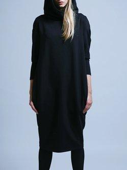 Black Hoodie H-line Plain Long Sleeve Midi Dress