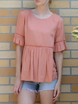 Orange Rayon A-line Crew Neck Half Sleeve Blouse