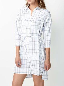Checkered/Plaid 3/4 Sleeve A-line Casual Shirt Collar Mini Dress