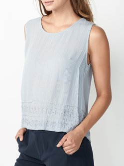 Light Blue Rayon Sleeveless H-line Embroidered Tanks And Cami