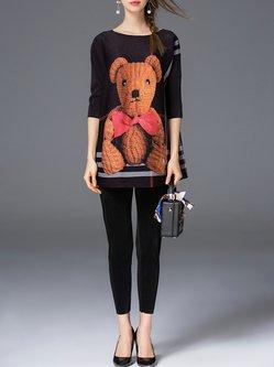 Animal Print Two Piece Casual Half Sleeve Jumpsuit