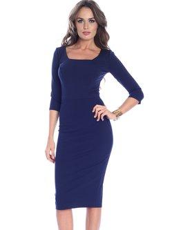Viscose Square Neck Half Sleeve Elegant Zipper Midi Dress
